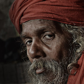 Tired Soul by Arnab Bhattacharyya - People Portraits of Men ( monk, sage, red, naga_sadhu, indian, culture, eye )