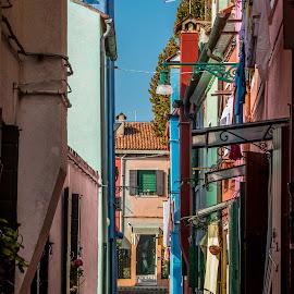 by Mario Horvat - City,  Street & Park  Street Scenes ( narrow, touristic, italia, street, burano, architecture, travel, italy )