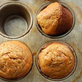 Banana Muffins with Peach Jam Swirl