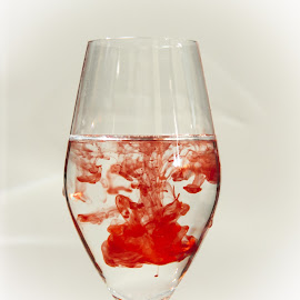 Blood in water by Martin Jensen - Abstract Water Drops & Splashes ( water, red, explosion, glass, white, blood )