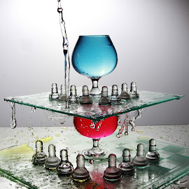 water, glass and chess by Peter Salmon - Artistic Objects Glass ( colour, water, chess, glass, light )