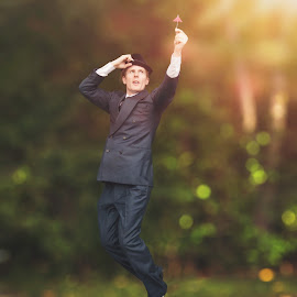 Mr. Poppins by Tyler Oxley - People Portraits of Men ( levitation, umbrella, suit, funny, ligth leak )