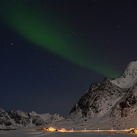 Winter in Lofoten by Geir Lakselvhaug - Landscapes Mountains & Hills ( #winter, #aurora, #mountains, #lofoten, #lights )