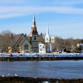 The Three Churches by Lena Arkell - Buildings & Architecture Places of Worship ( winter, blue sky, nova scotia, steeple, bay, mahone bay, snow, churches, ocean, atlantic, lunenburg )