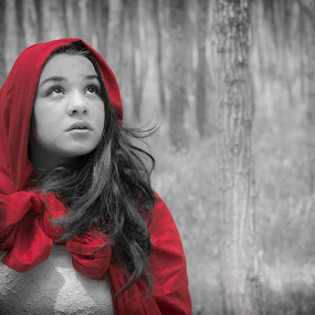 Little Red Ridding Hood by Robbie Caccaviello - People Portraits of Women