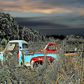 2 Trucks by JEFFREY LORBER - Transportation Other ( trucks, truck, lorberphoto, truck photo, rust 'n chrome, jeff lorber, jeffrey lorber, abandoned )