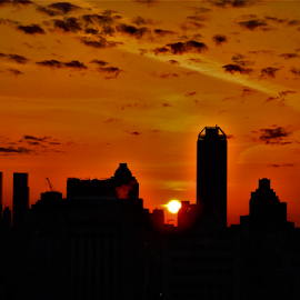 Sunset Manhattan by Hal Gonzales - City,  Street & Park  Skylines ( sunset, manhattan, nyc, sunsets, skyline, skyscrapers,  )