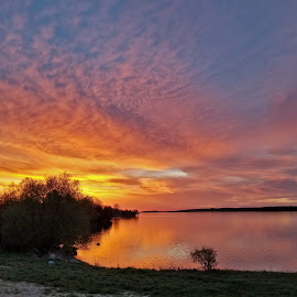 St. Lawrence by Kathy Jean - Landscapes Sunsets & Sunrises ( sunrise, ontario, wolfe island, landscape, st. lawrence river,  )