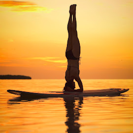 Paddleboard Headstand by Troy Wheatley - Sports & Fitness Watersports ( water, reflection, headstand, woman, sunset, sup, yoga )