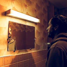 Myself and I by Anne-Cecile Pflieger - People Portraits of Men ( interior, reflection, moment, wallpaper, bathroom, seventies, mirror, annececilegraphic, tiles, neon, contemplative, tile, alone, man )