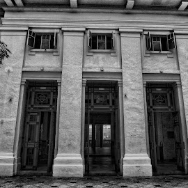 Fort Canning by Yamin Tedja - Buildings & Architecture Architectural Detail ( fort canning, black and white, exterior, architecture, historic, singapore )