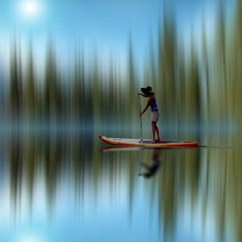 Serenity by Leslie Collins - Digital Art Places ( water, blurred, digital art, reflections, lady, boat, paddle,  )