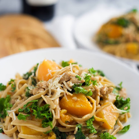 Kale, Sausage and Butternut Squash Linguine Pasta