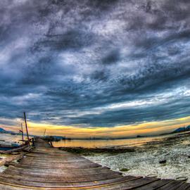 Dove Jetty by Juz AnDy - Landscapes Sunsets & Sunrises ( blue, penang, weather, sea, malaysia, dove jetty, bridge, sunrise, jetty, boat, morning, dove )