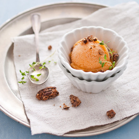 Peach & Thyme Sorbet with Candied Pecans