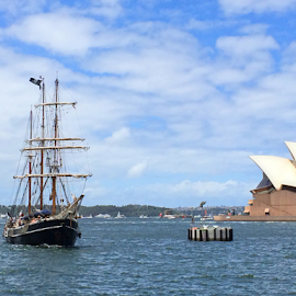 Pirates Ship In Sydney by Kamila Romanowska - Instagram & Mobile iPhone ( landmark, ship, harbour, australia, opera house, sydney, pirate )