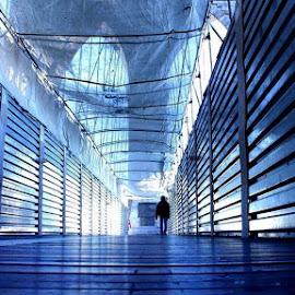 Walk In Blue by Marya Bhardwaj - Abstract Patterns ( #newyorkcity #bridge #blue #people #alone,  )