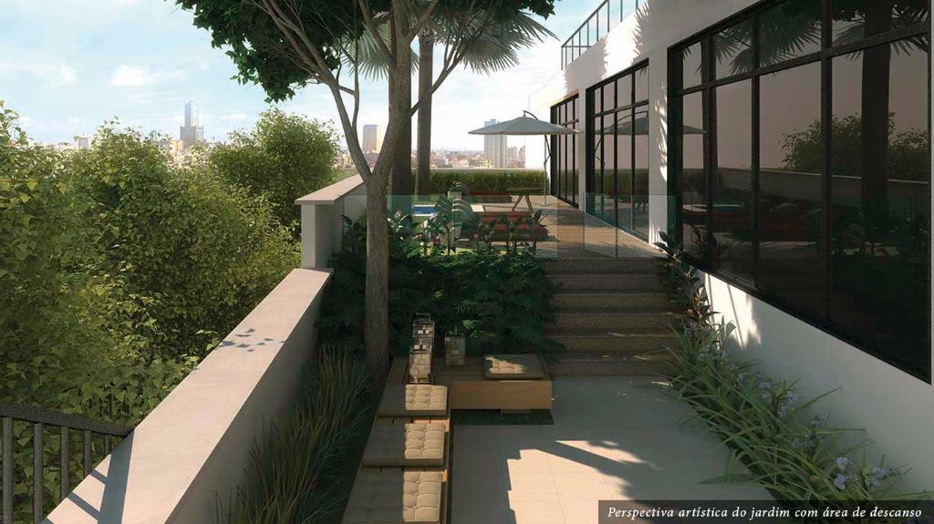 Perspectiva do Jardim com Área de Descanso