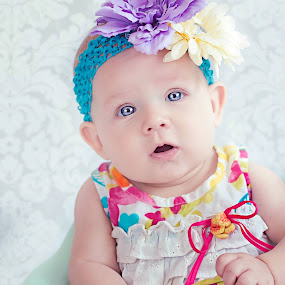 flower baby by Jenny Hammer - Babies & Children Babies ( girl, headband, color, baby, cute, flower,  )