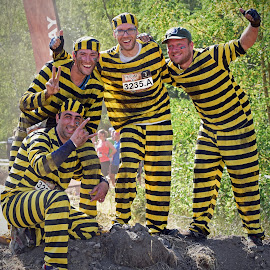 Happy Mud Guys by Marco Bertamé - People Group/Corporate ( number, fun, yellow, guys, race, happy, 4, 3235, striped, the mud day, four, group, black )