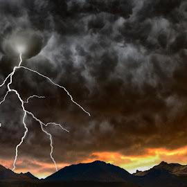 Arizona Stroms by Alex  Wolf - Landscapes Travel ( clouds, mountains, lightning, alex wolf, wolfproduction.us, sunset, arizona, storm, cactus, dessert )