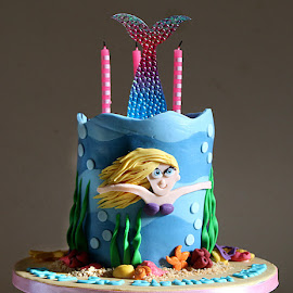 The Mermaid Cake by Chrissie Barrow - Food & Drink Candy & Dessert ( cake, fondant icing, blue, candles, icing, tail, mermaid, birthday cake, colours )