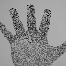 My Hand by Dawn Moder - Drawing All Drawing ( hand, marker, white, black,  )