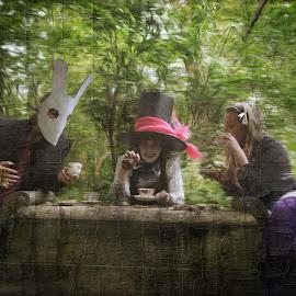 the tea party by Kathleen Devai - Digital Art People ( rabbit, wonderland, alice, party, tea, mad hatter )