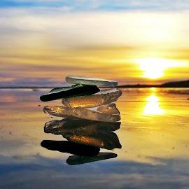 by Linda Ragnarsdottir - Nature Up Close Rock & Stone ( iceland, nature, sunset, glass, morning )