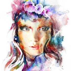 Delightful Look  by Kathryn Potempski - Digital Art People ( red, water colour, digital art, flowers, rainbow, portrait )