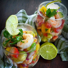 Easy Shrimp Ceviche with Mango Pineapple & Avocado