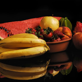 Fruits and reflection by Cristobal Garciaferro Rubio - Food & Drink Fruits & Vegetables ( banana, reflection, fruit, stawberries, peach, watermelon )