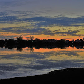 Magic Moment by Kathy Woods Booth - Landscapes Sunsets & Sunrises ( dusk, sunset, reflections', twilight, mirrored reflections, serene )