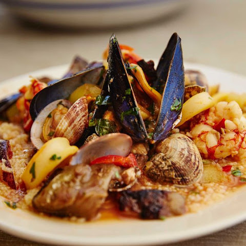 Sicilian Seafood Stew with Almonds and Couscous