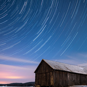 Star Trails and Barn  by Sondra Sarra - Landscapes Starscapes ( clouds, winter, barn, january, snow, night, star trails, moon lit )