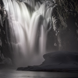 Waterfall by Alan McCollough - Landscapes Waterscapes ( quebec, waterfall, nigth, slow shutter )