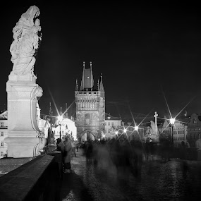 Charles Bridge at Night - Prague, CZECH by Krzysiek Roznowski - Buildings & Architecture Architectural Detail ( pwcdetails )