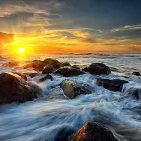 Emotion by Hendri Suhandi - Landscapes Waterscapes ( clouds, bali, splash, manyar, sunset, rock, sunrise, beach, flare, motion )