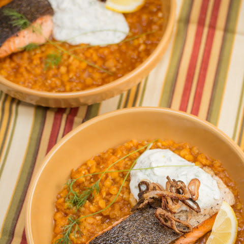 Crispy Skinned Salmon Over Red Lentils with Caper Dill Yogurt Sauce