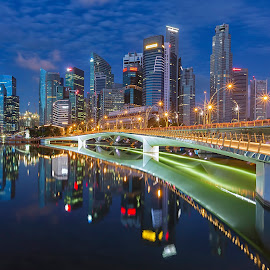 Jubilee Bridge by Lb Chong Jacobs - Buildings & Architecture Bridges & Suspended Structures ( lights, calm, reflection, building, blue sky, blue hour, cityscape, bridge, morning, singapore )