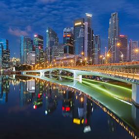 Jubilee Bridge by Lb Chong Jacobs - Buildings & Architecture Bridges & Suspended Structures ( lights, calm, reflection, building, blue sky, blue hour, cityscape, bridge, morning, singapore )
