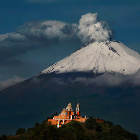 snowy volcano  by Cristobal Garciaferro Rubio - Landscapes Mountains & Hills ( dramatic landscapes, cholula, volcano, church, smoking, mexico, puebla, popocatepetl, smoking volcano )