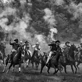 Wild West Reenactment by Joe Saladino - Black & White Portraits & People ( reenactment, monochrome, train robbers, shooting guns, horses, robbers, black and white, gun fire, riders )