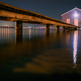 Boat house by night by Shayne Sim - Buildings & Architecture Bridges & Suspended Structures ( night photography, perth by night, waterscape, 80d, first batch, nightscape )