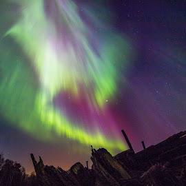 Aurora III by Kaj Andersson - Landscapes Starscapes ( sky, colors, aurora borealis )
