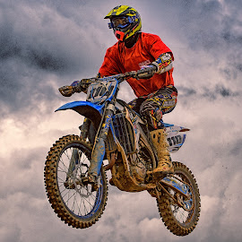 Double One O by Marco Bertamé - Sports & Fitness Other Sports ( clouds, flying, red, motocross, speed, 110, number, noise, jump )