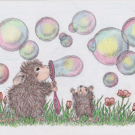 Blowing Bubbles.... by Melanie Goins - Illustration Cartoons & Characters ( cartoons, house mouse, antics, mice, colourinng )