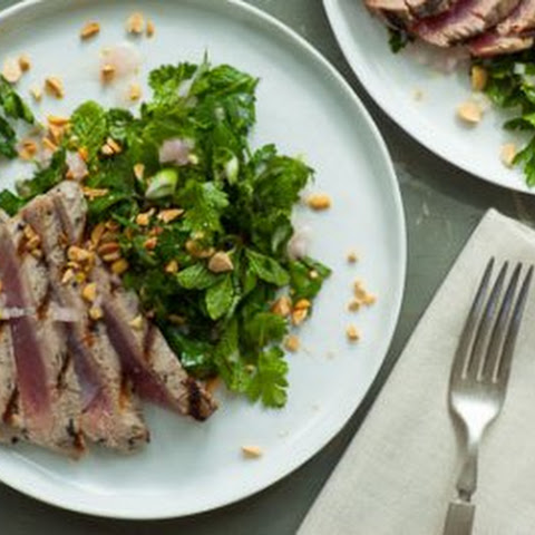 Grilled Tuna Steak with Fresh Herb and Peanut Salad