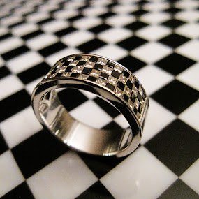 Checker Flag Engagement by Janet Herman - Artistic Objects Jewelry ( ring, wedding, jewelry, checkered-flag, engagement, , Jewelry, jewellery, elegant, earring, necklace, bracelet, fashion )