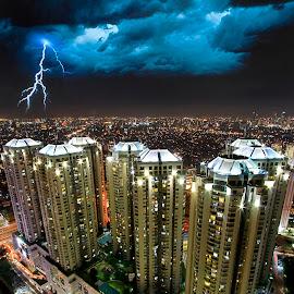 Lightning of Jakarta by Oscar Corputty - City,  Street & Park  Skylines